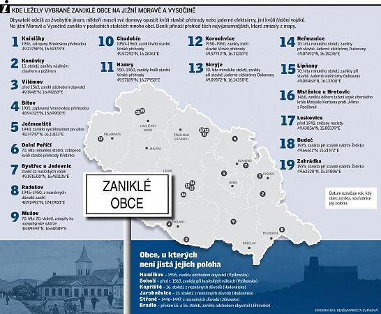 Kde ležely vybrané zaniklé obce na jižní Moravě a Vysočině.