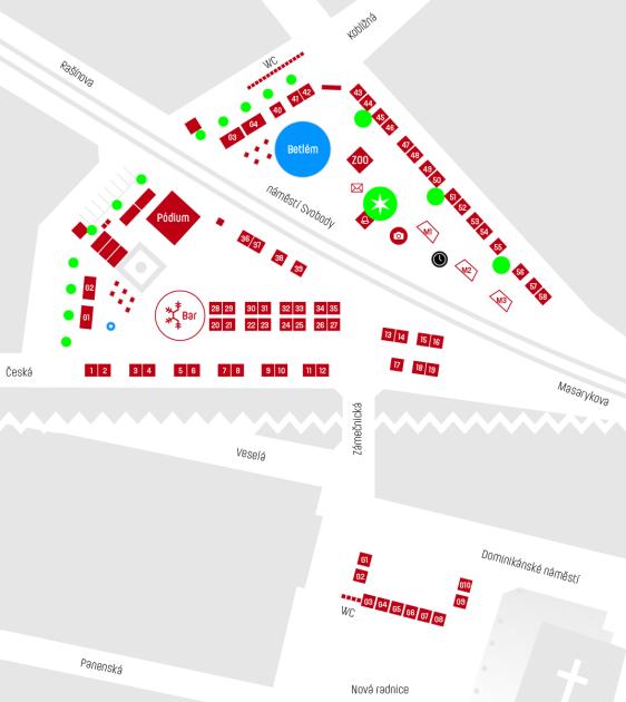 Plánek vánočních trhů na náměstí Svobody a Dominikánském náměstí.