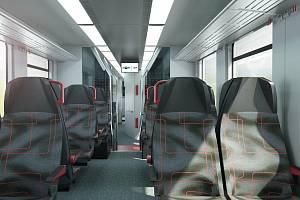 Jihomoravský kraj zveřejnil, jak budou vypadat vnitřní prostory nových vlaků.