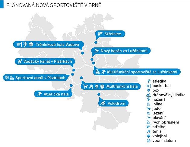 Plánovaná nová brněnská sportoviště.