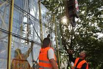 Sedm velkých skleněných tabulí dorazilo v pondělí ráno před brněnskou funkcionalistickou vilu Tugendhat. Stavaři jimi vysklí okna hlavní obytné místnosti vily.