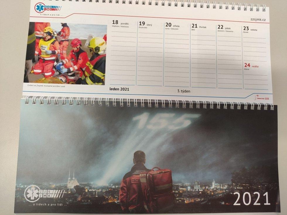 Charitativní kalendář Záchranné zdravotnické služby Jihomoravského kraje pro rok 2021.