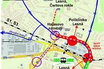 Kudy povede nová tramvajová trať na Lesnou.