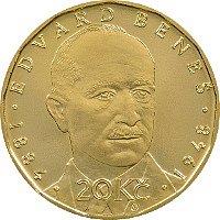 Unikátní dvacetikorunová mince s Edvardem Benešem.