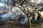 Požár stodoly a rodinného domu v Obřanech.