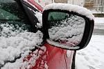 Centrum Brna zasypal sníh.
