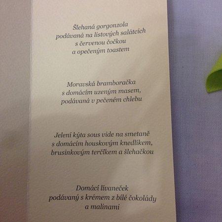 Menu prezidenta republiky vČerné Hoře.