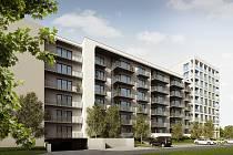 Připravovaný bytový dům na rohu Sokolovy ulice a Dufkova nábřeží na jihu Brna od firmy Bemett.