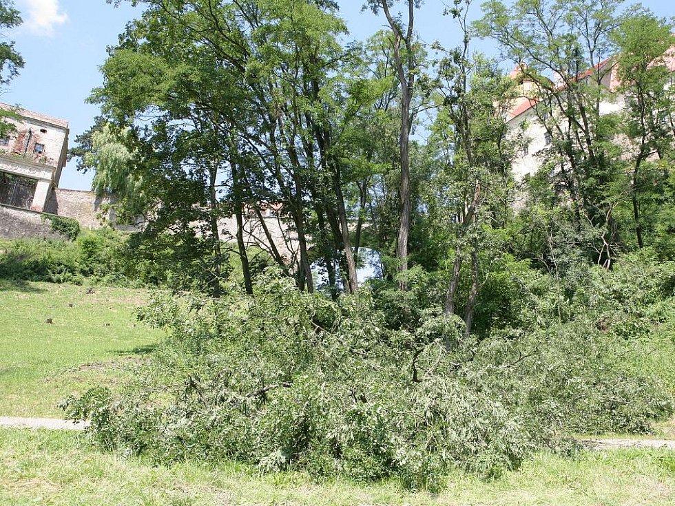 Bouřka zaplavila okolí hradu Veveří.