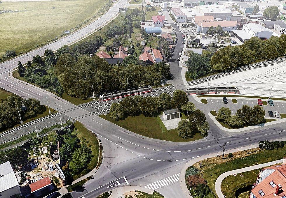 Plánované křížení tramvajové trati na Stránskou skálu s Holzovou ulicí.