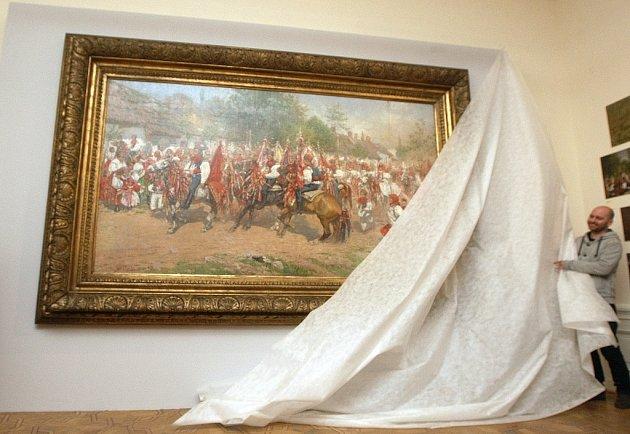 Monumentální obraz moravského malíře a grafika Jožo Uprky Jízda králů se vrátil do stálé expozice Místodržitelského paláce na Moravském náměstí.