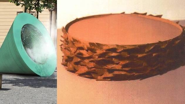 Loni zvítězila v soutěži kašeň pro Dominikánské náměstí v Brně káď (vpravo), letos zase kouřící trubky (vlevo).