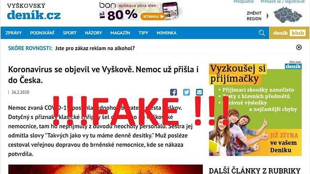Fake news o koronaviru.