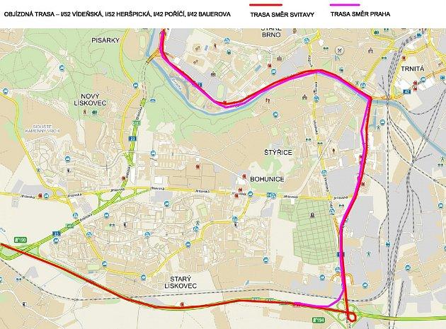 Mapa objízdné trasy.