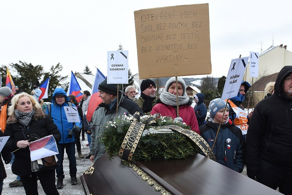 Protestní pochod s rakví k domu ministra zdravotnictví Jana Blatného.