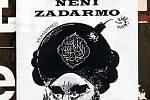 Karikaturu proroka Mohameda doplňuje text Svoboda není zadarmo a podpis Přátelé svobody slova.