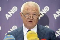 První místopředseda hnutí ANO Jaroslav Faltýnek vystoupil 9. července 2019 v Praze na tiskové konferenci před jednáním Poslanecké sněmovny.