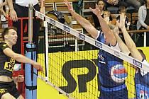 Ve třetím utkání semifinále I. ligy prohráli volejbalisté Sokola Bučovice (modré dresy) v Brně s Volejbalem Brno B 0:3. Stejným poměrem Brnané vyhráli i celou sérii.