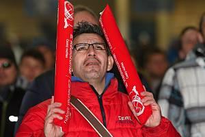 Fanoušci na Olympijském festivalu v Brně podporovali český hokejový tým všemi silami.