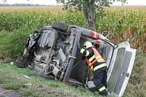 Osobní automobil a dodávka havarovaly v sobotu krátce po desáté hodině dopoledne na silnici mezi Pohořelicemi a Branišovicemi.