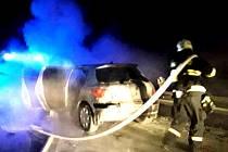 Požár auta na 178. kilometru dálnice D1.