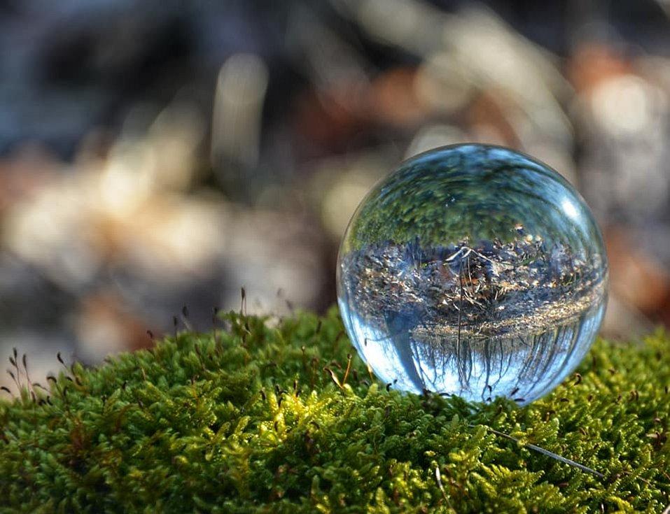 Putování kolem Střelic bylo plné kouzelných detailů i neobvyklých pohledů. Fotografka si vyhrála se skleněnou koulí.