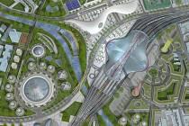 Ideový návrh možné podoby nového hlavního železničního nádraží a jeho širokého okolí v Brně, který pochází z ideové soutěže z roku 2016.