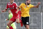 Fotbalisté Zbrojovky (v červeném) podruhé v novém ročníku druhé nejvyšší soutěže vyhráli. Doma zdolali České Budějovice 2:1.