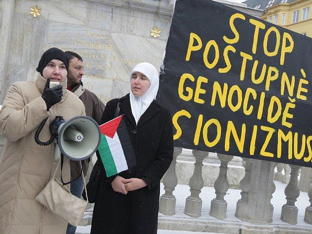 Protest proti izraelským útokům v pásmu Gazy.