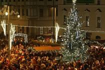Vánoční strom na brněnském náměstí Svobody.