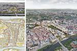 Sdružení Pelčák a partner architekti – Müller Reimann Architekten (Brno – Berlín): Územní studie Holešovice-Bubny-Zátory, Praha, Česko. Vizualizace.