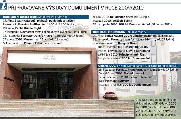 Připravované výstavy Domu umění vroce 2009/2010.
