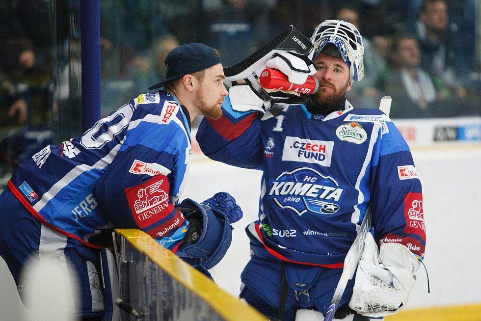 Brankáři Karel Vejmelka (vlevo) a Marek Čiliak se v bráně Komety často střídali.