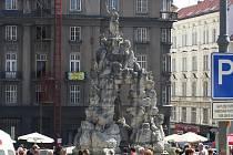 Barokní kašna Parnas na Zelném trhu v Brně. Ilustrační foto.