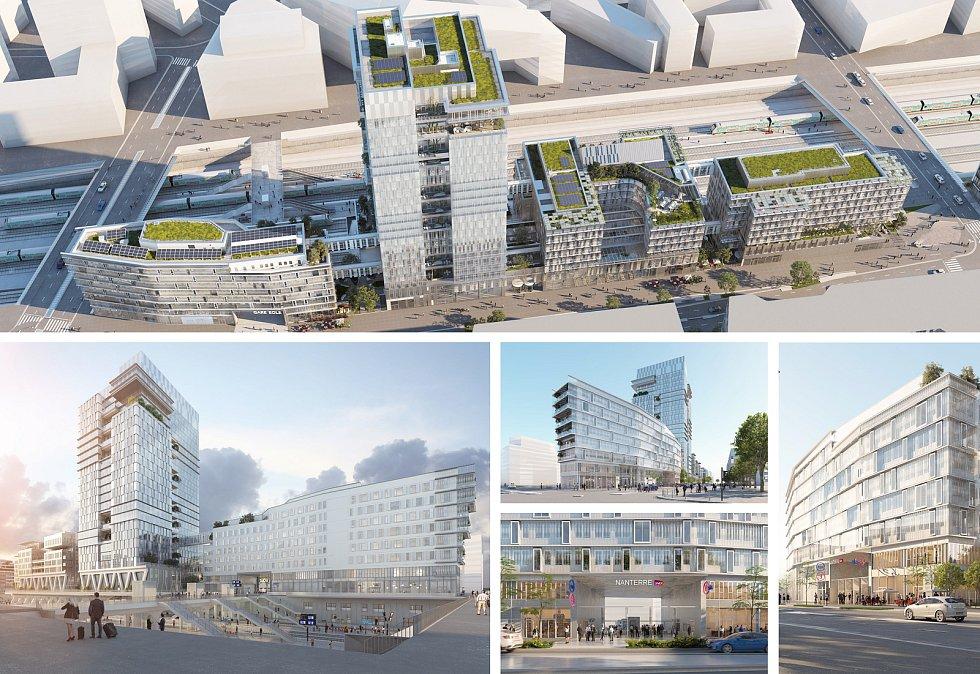 Marc Mimram Architecture & Associés (Paříž): Ústředí společnosti Vinci s přístupem do stanice příměstských vlaků Eole, Nanterre, Francie. Vizualizace.