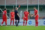 Bohuničtí fotbalisté (v červeném) přehráli v brněnském derby Moravskou Slavii jasně 4:0.