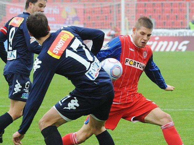 Fotbalisté Zbrojovky Brno v utkání se Slováckem.