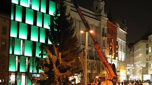 Vánoční strom stojí od středeční sedmé hodiny večerní na náměstí Svobody.
