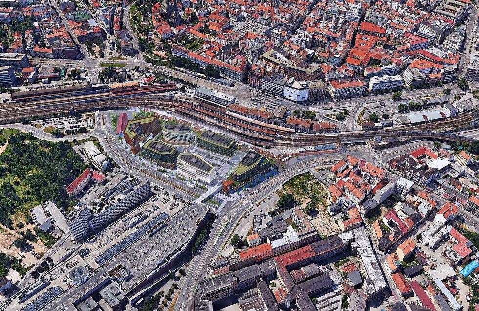 Projekt Dornych - polyfunkční komplex v Brně, jedná se o rok staré pracovní vizualizace.