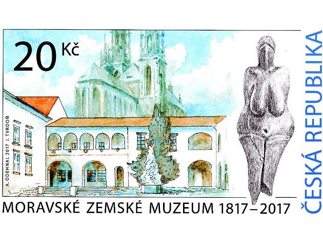 Část Biskupského dvora, věže katedrály svatého Petra a Pavla a paleolitická Věstonická venuše. Tyto pamětihodnosti tvoří návrh nové známky, kterou vydala Česká pošta ku příležitosti dvoustého výročí založení Moravského zemského muzea.