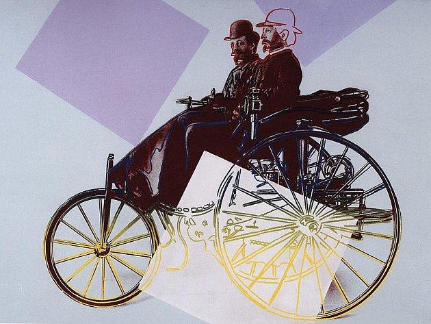 Andy Warhol - Karl Benz s jeho obchodním spolupracovníkem Josefem Brechtem na motorovém voze s patentem Benz, 1886. Sítotisk, Akryl na plátně
