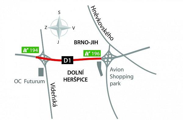 Mapa úseku dálnice.