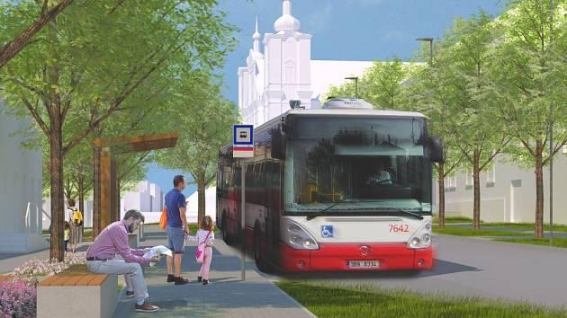 Vizualizace plánované podoby Tuřanského náměstí.