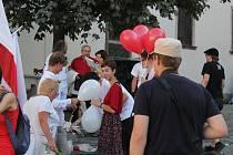 Akce Svobodné Bělorusko v centru Brna, 16. 8. 2020.