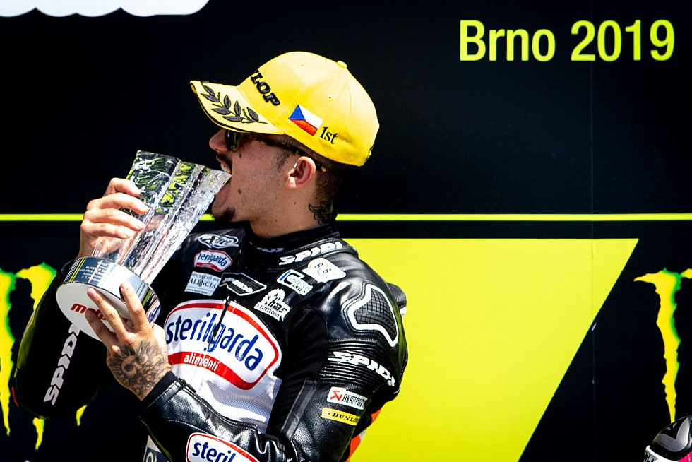 Finálový závod Moto3 Velká cena České republiky, závod mistrovství světa silničních motocyklů v Brně 4. srpna 2019. Na snímku výtěz Aron Canet (SPA).