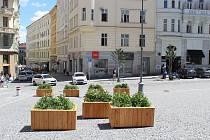 Nové truhlíky s rostlinami na Dominikánském náměstí.