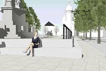 Pod sousoším na centrálním náměstí bude podle jednoho z návrhů soustava schodů a zídek.