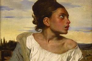 Obraz Jeune orpheline au cimetière z roku 1824, Eugène Delacroix.