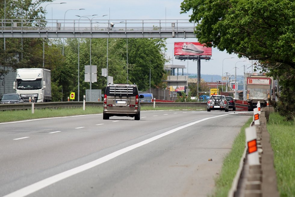 Úsek I/52 u Modřic. Nejvíce nehodové místo v kraji.