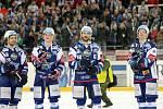 Hokejisté brněnské Komety porazili i ve čtvrtém utkání čtvrtfinálové série play-off extraligy Vítkovice, tentokrát 3:1.  Na snímku Mallet, Nečas, Čermák a Krejčík.